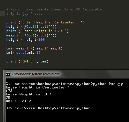 BMI Calculator using Python