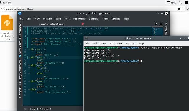 Python script for calculation using operator