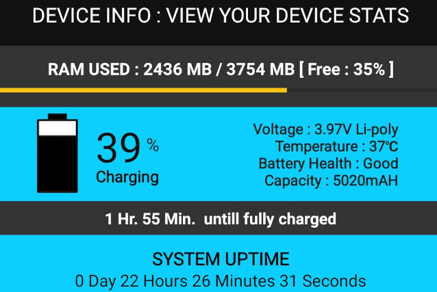 Device Info : View your device stats – Android app