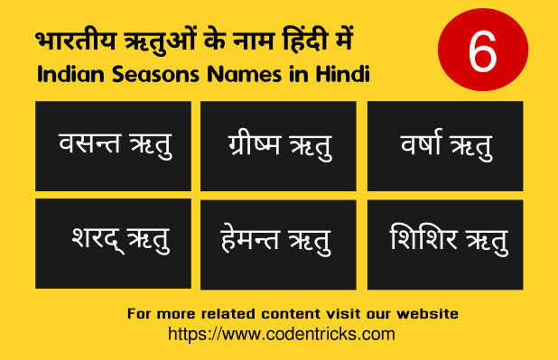 Indian Seasons (ऋतु) Names in Hindi and their months details